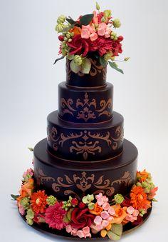 Chocolate Brown Wedding Cake - Ron Ben-Israel Cakes - Reverie Gallery Wedding Blog
