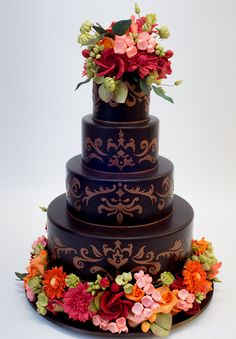 Chocolate Brown Wedding Cake - Ron Ben-Israel Cakes - Reverie Gallery Wedding Blog