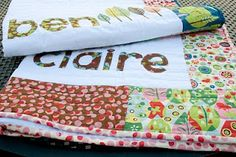 Free baby quilt pattern for personalized baby quilts made with pre cut fabrics. Baby quilt patterns with baby names Baby Quilt Size, Baby Quilts, Kid Quilts, Free Baby Quilt Patterns, Free Pattern, Applique, Personalized Baby Blankets, Personalised Baby, Quilted Pillow