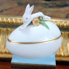 Herend Hungarian China Porcelain Rabbit Easter Egg Trinket Box Lidded 6049 1941 #TrinketBox