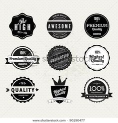 Stock Vector Illustration:  Collection of Premium Quality and Guarantee Labels…