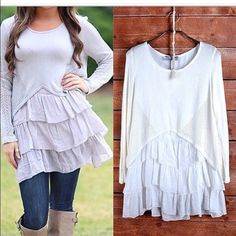 Grey Ruffled Tunic/Top Absolutely adorable!! Grey Tunic/Top with Ruffles on bottom! Size Small and NWT Tops Tunics