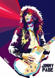 Artwork of Led Zeppelin guitarist Jimmy Page Led Zeppelin Poster, Led Zeppelin Art, Jimmy Page, Pop Rock, Rock N Roll, Rock Y Metal, Rock Band Posters, Pop Art Portraits, Star Art
