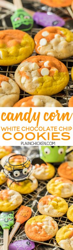 Candy Corn White Chocolate Chip Cookies - fun, festive Halloween themed cookies. THE BEST chocolate chip cookie EVER! I ate WAY too many of these!! Shortening, bread flour, salt, sugar, brown sugar, eggs, vanilla, white chocolate chips, gel food coloring. Can make cookies with regular chocolate chips. You can also skip the food coloring if you aren't making for halloween. Seriously THE BEST cookie recipe!!! #halloween #cookie #chocolatechip #desssert