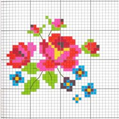 small+floral+cross+stitch+pattern+modern+primary+colors.jpg (720×720)