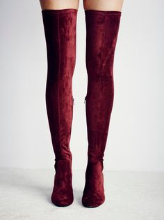 Parkway Thigh High Boot | Inspired by decades past, these thigh high faux suede boots feature a chunky heel and a square toe. Outside exposed zip for an easy on/off. Leather lining.