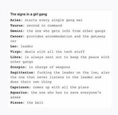 The signs in a girl gang :)