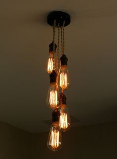 CUSTOM Staggered 5 Cluster Bulb Modern Pendant light Industrial Chandelier Any Color lighting or Hardwired ceiling fixture Antique cord