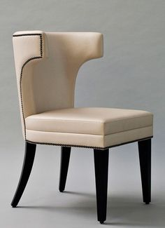 Empire Dining Chair  550mm (W) X 850mm (H) X 565mm (D) Upholstered dining chair with brass nailhead trim and Dark Espresso legs. Custom finishes available.