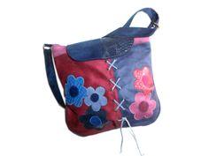 GIA Sac bandoulière hippie chic bleu fleurs jean bleu marine fuchsia prune simili cuir cuir : Sacs bandoulière par catsoo