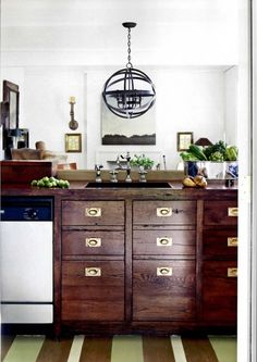 house beautiful kitchen - wood & brass. See if Dean can make an island with drawers out of reclaimed wood, marble countertop. This is what the opposite side would look like.