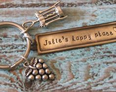Hand Stamped Personalized Wine Keychain - Wine Lover, Grapes, Wine Gift, Happy Place