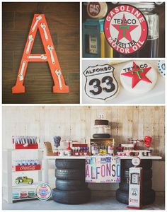 Motorcycle themed centerpieces print outs glued to sticks for Garage themed bedroom ideas
