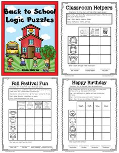 36 Logic Puzzles for Back to School and Fall Grades 1-3.  Wonderful selection and every puzzle is in color and black and white! $ Brain Builders, Classroom Helpers, Team Activities, Logic Puzzles, Second Grade Math, Critical Thinking Skills, Student Gifts, In Kindergarten, Special Education