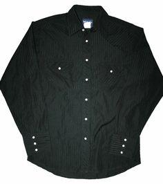 Vintage Black Wrangler Pearl Snap Shirt Mens Size Medium $30.00