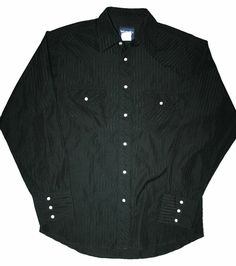Vintage Black Wrangler Pearl Snap Shirt Mens Size Medium $30.00