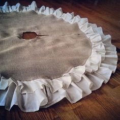 "58"" Double Ruffle Burlap Tree Skirt-Natural Burlap-Christmas-Country/Folk/Rustic- Other Colors Available-Customize"
