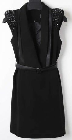 Black Sleeveless Rhinestone Drawstring Waist Dress - Sheinside.com