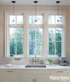 New kitchen window remodel pendant lights Ideas Window Over Sink, Kitchen Sink Window, Kitchen Redo, Home Decor Kitchen, Interior Design Kitchen, Country Kitchen, New Kitchen, Home Kitchens, Kitchen Windows