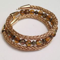 Natural brass gold ladies viking knit beadwork wrap by DonnaDStore