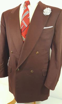 CANALI Blazer Sportcoat Jacket 46R Mens Burgundy Double Breasted Italy 100%Wool  #Canali #DoubleBreasted