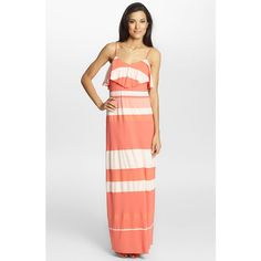 Cynthia Steffe 'Bailey' Ruffled Stripe Maxi Dress ($178) ❤ liked on Polyvore