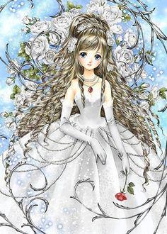 Princess with white dress, long curly blond hair, light blue eyes, & pink rose by manga artist Shiitake.- shiitake is such an amazing artist! Manga Anime, Manga Girl, Anime Art Girl, Anime Girls, Dragon Princess, Anime Princess, Princess Hair, Photo Manga, Coloring Book Art