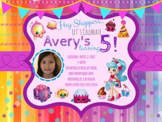 Shopkins Digital PDF JPG invitation, shopkins party, shopkins birthday party, girl party, girl shopkins birthday, shopkins cake party by ThePapierSoiree on Etsy