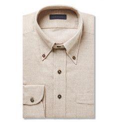 Thom SweeneyBeige Slim-Fit Cotton-Flannel Shirt