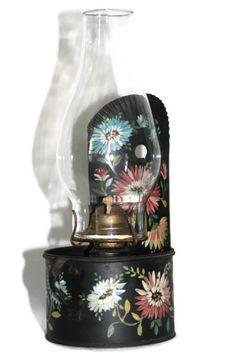 Tole Lamp  Toleware  Antique Oil Lamp  Antique Oil by CocoRaes, $40.00