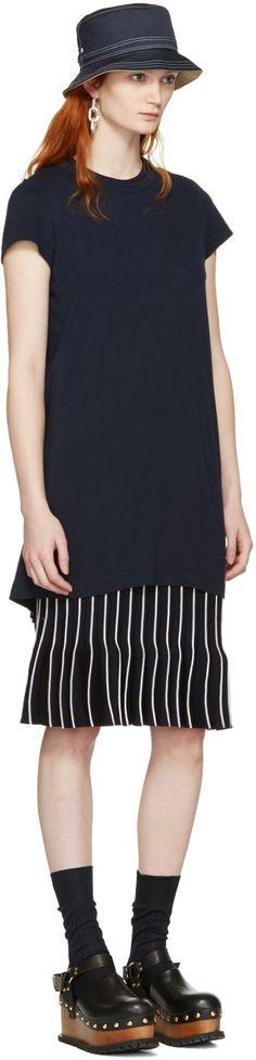 Sacai: Navy Fan Back Dress | SSENSE