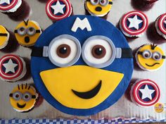 Minion Captain America cake & cupcakes! Super awesome and perfect for any teenager! Make it Gluten Free by using Riley's Gluten Free Dairy Free Cake Mix!