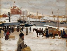 Albert Edelfelt (1854–1905);  Winter Day at Helsinki Market Square, Study ; Sketch for Winter Day at The Market Place in Helsinki; 1889; oil on panel Dimensions 	31.5 × 41 cm (12.4 × 16.1 in)
