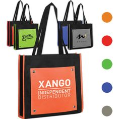 """Tote Bag...Front pocket tote bag, 13"""" x 14.5"""" x 3.25"""". Tough 600 denier black polyester. Colorful tow tone tote bag with large 11"""" x 9.75"""" front pocket and open main compartment. Hand wash only. Durable and reusable. Great gift and giveaways in trade shows and conventions!"""