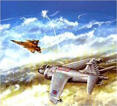 British Sea Harrier attacks an Argentinian Mirage III during the Falklands War Military Art, Military History, Falklands War, War Thunder, Airplane Art, Historical Art, Aviation Art, Military Aircraft, World War Ii