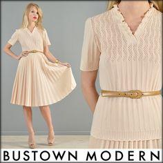 vtg 70s cutout pleat crochet zigzag ruffle knit 2 piece dress FULL SKIRT + top