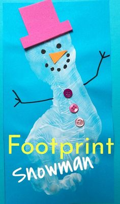 Such a wonderfully easy Kids Craft Idea for Christmas. These footprint snowmen make great greetings cards, and kids footprint crafts always make a wonderful keepsake! | Christmas Crafts for Kids | Winter Crafts for Kids #christmas #christmasideas #christmascrafts #easychristmascrafts #wintercrafts #kidschristmasideas #kidsactivities #kidsart #kerst #noel #joyeuxnoël. #froheweinachten #feliznavidad. #kerstideeën #pomysły świąteczne Winter Crafts For Kids, Easy Christmas Crafts, Craft Projects For Kids, Easy Crafts For Kids, Craft Activities For Kids, Toddler Crafts, Kids Christmas, Art For Kids, Christmas Cards