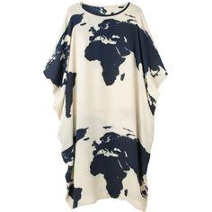 A Détacher Doe Drapey Dress (860 CAD) ❤ liked on Polyvore featuring dresses, graphic print dress, white day dress, below knee dresses, drapey dress and creme dresses