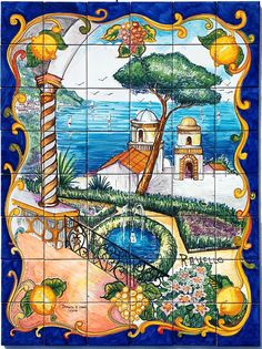 Gardens of Ravello is a hand painted mosaic panel of tiles 60x80cm approx. 23.6x31.5 inches  The collage consist of 48 tiles each at 10x10 cm, 4x4 inches  The beautiful scenery of Amalfi Coast from Villa Rufolos gardens in Ravello has been hand painted into one collage on ceramic tiles that will make your home more unique. Our Ceramic Glazed Tiles are traditionally used to cover walls where they are used in finishing kitchens, bathrooms, benches, decorative panels, floor applications…