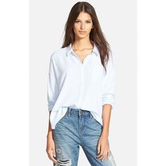 Leith Button Front Stripe Shirt (99 BAM) ❤ liked on Polyvore featuring tops, blue placid mini stp, stripe top, shirts & tops, blue top, mini shirt and blue shirt