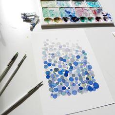 Blue bubbles. Watercolor print.