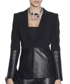 Black leather panel blazer Sale - NISSA Sale