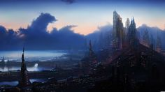 Cyberpunk Sci Fi Science Fiction Futuristic World Cities Architecture Buildings Skyscrapers Night Lights Window Detail Tech Marina Harbor Oc
