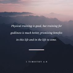 1 Timothy For bodily exercise profiteth little: but godliness is profitable unto all things, having promise of the life that now is, and of that which is to come. Scripture Verses, Bible Verses Quotes, Bible Scriptures, Youth Verses, Scripture Pictures, Biblical Quotes, Amplified Bible, Jesus Bible, 1 Timothy
