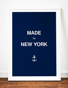 New York poster print art anchor typography by WeaversofSouthsea