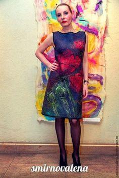 Платье МАДАМ - чёрный,цветочный,маленькое чёрное платье,маки,красный рисунок