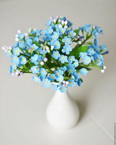 Forget-me-not polymer clay flowers / Цветы ручной работы. Ярмарка Мастеров - ручная работа. Купить Букет незабудок. Handmade. Голубой, незабудка, Декор
