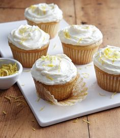 Lemon Ricotta Cupcakes with Fluffy Lemon Frosting from Baking with Less Sugar by Joanne Chang.