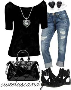 Black tee, jean capri, black metal sandals, grey purse, long chain with James Avery burst pendant