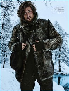 Wouter Peelen wears a fur jacket from Ralph Lauren with a H&M Studio knit jacket, and Giorgio Armani trousers for GQ España.